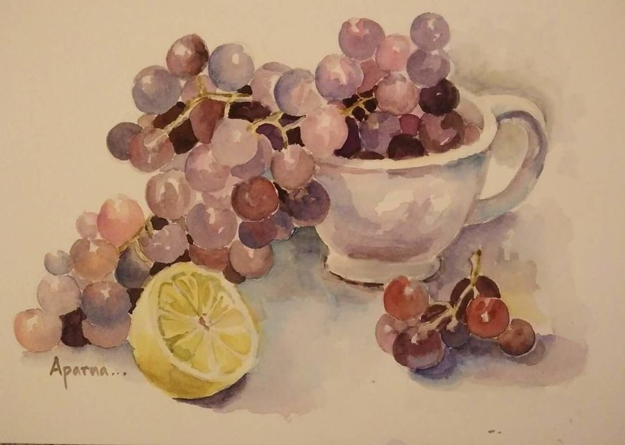 sour grapes, 11 x 17 inch, aparna vijayakar,nature paintings,paintings for dining room,canvas,watercolor,11x17inch,GAL0219428Nature,environment,Beauty,scenery,greenery
