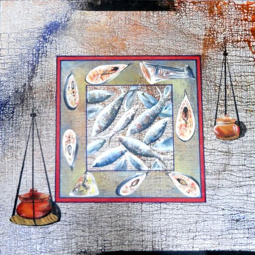 the silsa, 30 x 30 inch, kankana  pal,conceptual paintings,paintings for living room,square,canvas,acrylic color,30x30inch,GAL08334281