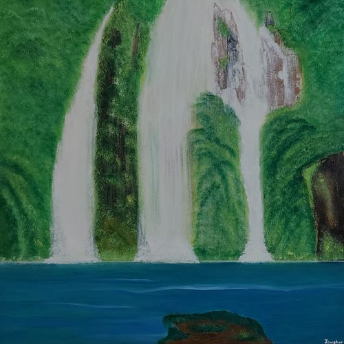waterfall through mountain, 24 x 30 inch, jawahar govindan,24x30inch,canvas,paintings,landscape paintings,nature paintings | scenery paintings,realism paintings,paintings for dining room,paintings for living room,paintings for bedroom,paintings for office,paintings for hotel,oil color,GAL02997342826