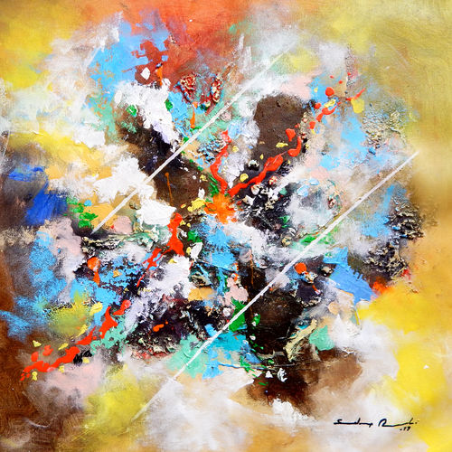 dancing colors , 18 x 18 inch, sandeep rawal ,18x18inch,canvas,paintings,abstract paintings,paintings for kids room,acrylic color,GAL0251142840