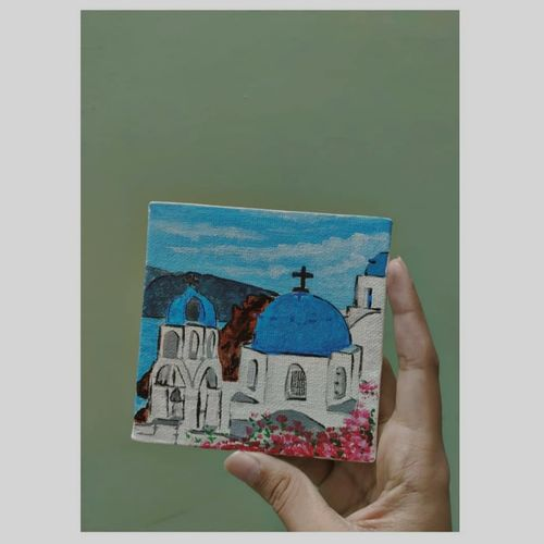 greece santorini , 3 x 3 inch, manasvi panwar,3x3inch,canvas,landscape paintings,paintings for office,paintings for kitchen,paintings for office,paintings for kitchen,acrylic color,GAL03053242845