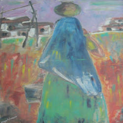 village belle with water pot, 50 x 75 inch, maya subramoni,50x75inch,canvas,paintings,abstract paintings,landscape paintings,paintings for living room,paintings for office,paintings for hotel,oil color,GAL03053842849