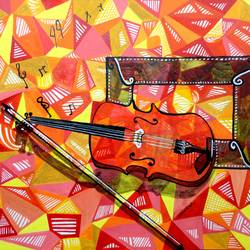 violin, 12 x 9 inch, kankana  pal,paintings for living room,paintings for bedroom,paintings for office,horizontal,modern art paintings,paper,mixed media,12x9inch,GAL08334285