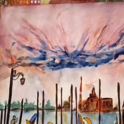 evening in venice , 17 x 12 inch, chandana dey,17x12inch,cartridge paper,landscape paintings,acrylic color,GAL03054742850