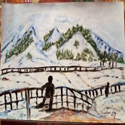 scenario of kashmir, 17 x 12 inch, chandana dey,17x12inch,cartridge paper,paintings,nature paintings   scenery paintings,acrylic color,GAL03054742855