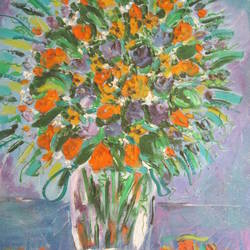 blue and yellow flowers in a vase, 53 x 63 inch, maya subramoni,53x63inch,canvas,paintings,still life paintings,paintings for dining room,paintings for living room,paintings for bedroom,paintings for hotel,paintings for hospital,mixed media,GAL03053842860