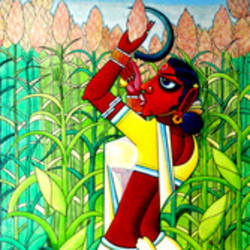 rural india, 36 x 60 inch, mohammad rustum,figurative paintings,paintings for living room,canvas,acrylic color,36x60inch,GAL015134287