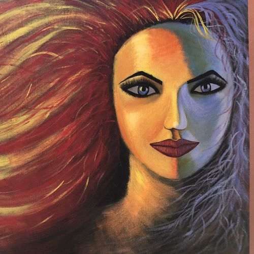 the girl with red hair , 18 x 14 inch, sneya .,18x14inch,canvas,paintings,portrait paintings,paintings for living room,acrylic color,GAL03057142879
