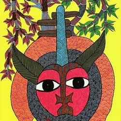king of jungle , 17 x 35 inch, brajbhushan dhurve,folk art paintings,paintings for office,canvas,acrylic color,17x35inch,GAL010354288
