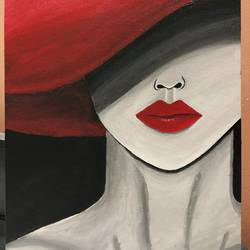 lady with the red hat, 14 x 18 inch, sneya .,14x18inch,canvas,paintings,portrait paintings,acrylic color,GAL03057142880