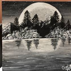 black and white landscape , 14 x 14 inch, sneya .,14x14inch,canvas,paintings,landscape paintings,paintings for dining room,paintings for living room,paintings for bedroom,acrylic color,GAL03057142881