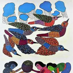 rain dance , 17 x 27 inch, brajbhushan dhurve,folk art paintings,paintings for office,canvas,acrylic color,17x27inch,GAL010354289