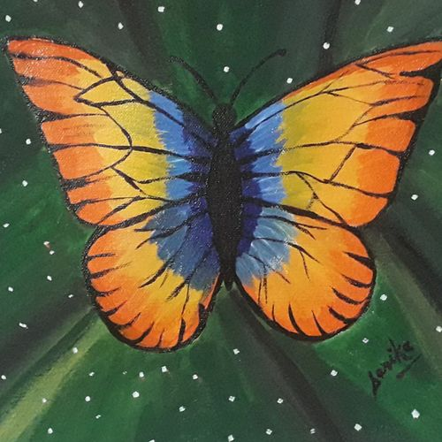 butterfly, 11 x 10 inch, sarika kewalramani.nathani,11x10inch,canvas,paintings,paintings for living room,acrylic color,watercolor,GAL02047342895
