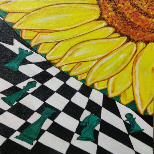 chess  board and sunflower, 12 x 16 inch, shubhra mandal,12x16inch,canvas,flower paintings,conceptual paintings,expressionism paintings,paintings for dining room,paintings for living room,paintings for bedroom,paintings for office,paintings for dining room,paintings for living room,paintings for bedroom,paintings for office,acrylic color,GAL03059742905