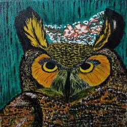 owl, 8 x 10 inch, shubhra mandal,8x10inch,canvas,wildlife paintings,conceptual paintings,animal paintings,paintings for dining room,paintings for living room,paintings for bedroom,paintings for kids room,paintings for dining room,paintings for living room,paintings for bedroom,paintings for kids room,acrylic color,GAL03059742906