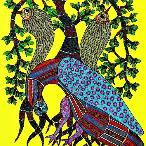 peacock gond , 17 x 29 inch, brajbhushan dhurve,paintings for office,gond painting.,paintings for dining room,canvas,acrylic color,17x29inch,GAL010354291