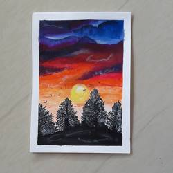 sunset, 8 x 12 inch, raeesa tasleem,8x12inch,brustro watercolor paper,abstract paintings,landscape paintings,still life paintings,paintings for living room,paintings for office,paintings for living room,paintings for office,acrylic color,GAL03060142917