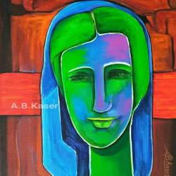 woman - 3, 13 x 16 inch, a.b.  kaser,figurative paintings,paintings for living room,canvas,acrylic color,13x16inch,GAL06364293