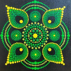 mandala dot painting4, 10 x 10 inch, neha chamankar,10x10inch,canvas,paintings,folk art paintings,contemporary paintings,paintings for dining room,paintings for living room,paintings for bedroom,paintings for office,paintings for hotel,acrylic color,GAL03061142937