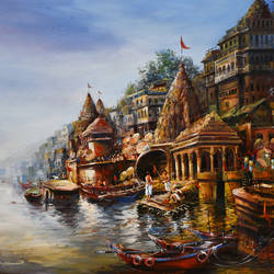 benaras ghat iv, 60 x 48 inch, indrajit karmakar,60x48inch,canvas,paintings,landscape paintings,religious paintings,paintings for dining room,paintings for living room,paintings for bedroom,paintings for office,paintings for hotel,acrylic color,GAL02980942944