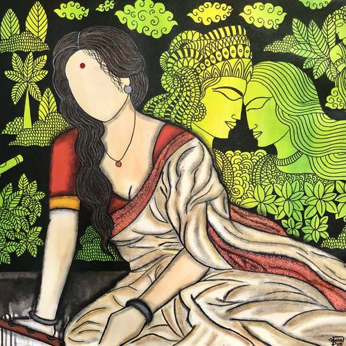 vairagini , 32 x 27 inch, mrinal  dutt,32x27inch,canvas,paintings,figurative paintings,conceptual paintings,religious paintings,radha krishna paintings,contemporary paintings,paintings for dining room,paintings for living room,paintings for bedroom,paintings for office,paintings for bathroom,paintings for hotel,paintings for kitchen,paintings for hospital,acrylic color,mixed media,GAL01311742947