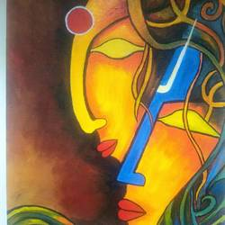 shiv parvati , 10 x 12 inch, karishma  shah,10x12inch,canvas,paintings,religious paintings,acrylic color,GAL03011442968