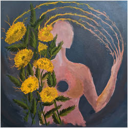 woman and nature empowering together , 24 x 24 inch, praharshita  ramesh,24x24inch,canvas,paintings,abstract paintings,flower paintings,nature paintings | scenery paintings,abstract expressionism paintings,contemporary paintings,paintings for dining room,paintings for living room,paintings for bedroom,paintings for office,paintings for hotel,acrylic color,GAL03065042977