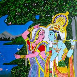 radhakrishna, 16 x 24 inch, jayakumar mahalingam,16x24inch,thick paper,religious paintings,paintings for living room,paintings for living room,acrylic color,paper,GAL02829842984