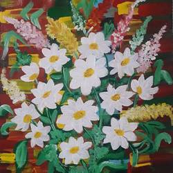 white flowers, 11 x 13 inch, sarika kewalramani.nathani,11x13inch,canvas,paintings,abstract paintings,acrylic color,GAL02047342990