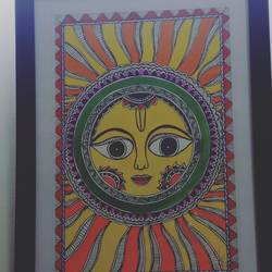 sun on the wall, 13 x 26 inch, yogesh sharma,13x26inch,thick paper,religious statues,acrylic color,GAL03066542991