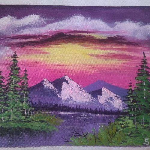mountain lake view, 12 x 10 inch, sai amale ,12x10inch,canvas,paintings,landscape paintings,nature paintings | scenery paintings,paintings for dining room,paintings for living room,paintings for bedroom,paintings for office,paintings for kids room,paintings for hotel,paintings for kitchen,acrylic color,GAL02904142992