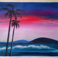 tropical island , 12 x 10 inch, sai amale ,12x10inch,canvas,paintings,landscape paintings,nature paintings | scenery paintings,paintings for dining room,paintings for living room,paintings for bedroom,paintings for office,paintings for hotel,paintings for kitchen,acrylic color,GAL02904142993