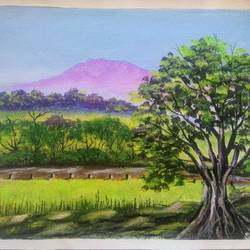 green landscape scenery , 12 x 10 inch, sai amale ,12x10inch,canvas,paintings,landscape paintings,nature paintings   scenery paintings,paintings for dining room,paintings for living room,paintings for bedroom,paintings for office,paintings for hotel,paintings for kitchen,acrylic color,GAL02904142994