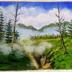 foggy valley , 12 x 10 inch, sai amale ,12x10inch,canvas,paintings,landscape paintings,nature paintings | scenery paintings,paintings for dining room,paintings for living room,paintings for bedroom,paintings for office,paintings for hotel,paintings for kitchen,acrylic color,GAL02904142995