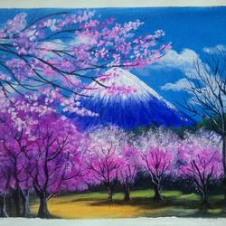 cherry blossom in mount fuji , 12 x 10 inch, sai amale ,12x10inch,canvas,paintings,landscape paintings,nature paintings   scenery paintings,paintings for dining room,paintings for living room,paintings for bedroom,paintings for office,paintings for hotel,paintings for kitchen,acrylic color,GAL02904142996