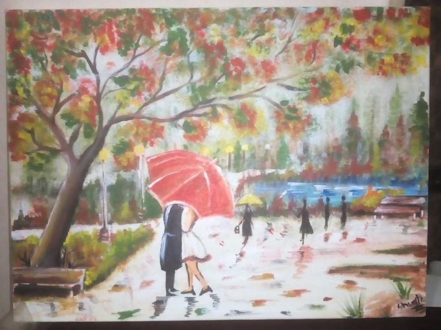 romance in rain, 14 x 18 inch, shweta  singh,nature paintings,paintings for dining room,love paintings,canvas,acrylic color,14x18inch,GAL078430heart,family,caring,happiness,forever,happy,trust,passion,romance,sweet,kiss,love,hugs,warm,fun,kisses,joy,friendship,marriage,chocolate,husband,wife,forever,caring,couple,sweetheartNature,environment,Beauty,scenery,greenery