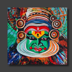 kathakali abstract painting, 36 x 36 inch, akash bhisikar,36x36inch,canvas,paintings,abstract paintings,buddha paintings,folk art paintings,modern art paintings,religious paintings,art deco paintings,expressionism paintings,illustration paintings,pop art paintings,contemporary paintings,love paintings,kerala murals painting,paintings for dining room,paintings for living room,paintings for bedroom,paintings for office,paintings for bathroom,paintings for kids room,paintings for hotel,paintings for kitchen,paintings for school,paintings for hospital,acrylic color,GAL01828643002