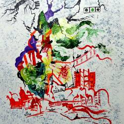 the city24, 8 x 10 inch, kankana  pal,cityscape paintings,paintings for living room,vertical,paper,mixed media,8x10inch,GAL08334301