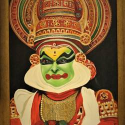 kathakali kerala art form, 20 x 24 inch, sangeetha oduvil,20x24inch,canvas,religious paintings,oil color,GAL03067943011