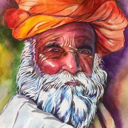 old man_water color, 12 x 16 inch, sangeetha oduvil,12x16inch,handmade paper,paintings,figurative paintings,still life paintings,portrait paintings,realism paintings,watercolor,GAL03067943017