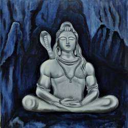 lord shiva, 36 x 36 inch, sangeetha oduvil,36x36inch,canvas,paintings,buddha paintings,realism paintings,realistic paintings,oil color,GAL03067943019
