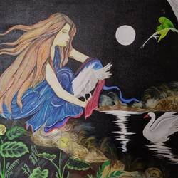 girl with swan, 30 x 20 inch, sangeetha oduvil,30x20inch,canvas board,abstract paintings,figurative paintings,conceptual paintings,acrylic color,GAL03067943026