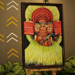 theyyam, 36 x 24 inch, sangeetha oduvil,36x24inch,canvas board,paintings,folk art paintings,religious paintings,oil color,GAL03067943030