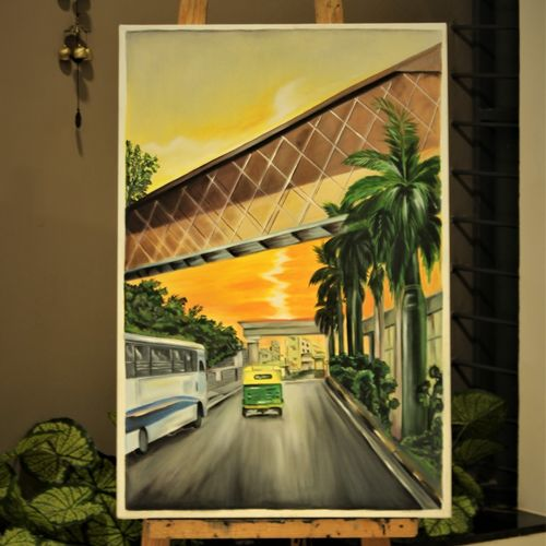 city landscape, 36 x 24 inch, sangeetha oduvil,36x24inch,canvas,paintings,abstract paintings,cityscape paintings,landscape paintings,realistic paintings,oil color,GAL03067943040
