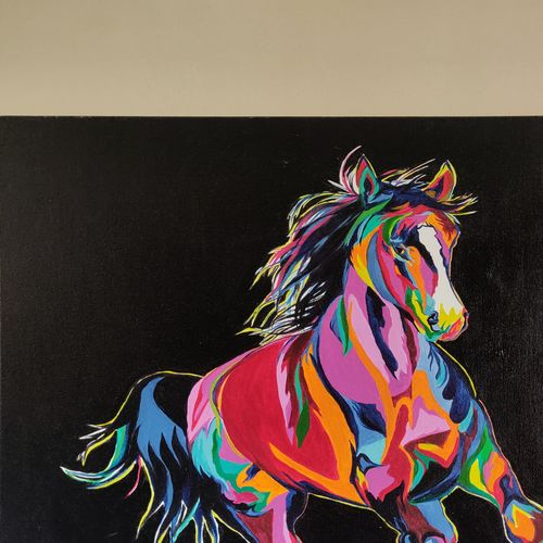 colorful horse, 24 x 24 inch, sangeetha oduvil,24x24inch,canvas,paintings,abstract paintings,wildlife paintings,figurative paintings,modern art paintings,animal paintings,horse paintings,acrylic color,GAL03067943041