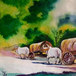 rural landscape, 12 x 16 inch, sangeetha oduvil,12x16inch,handmade paper,cityscape paintings,landscape paintings,nature paintings | scenery paintings,photorealism paintings,realism paintings,realistic paintings,watercolor,GAL03067943042