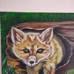 fox  in the woods, 24 x 24 inch, sangeetha oduvil,24x24inch,canvas,paintings,wildlife paintings,nature paintings | scenery paintings,animal paintings,realistic paintings,oil color,GAL03067943043