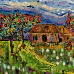 house by the lily pond, 30 x 24 inch, maya subramoni,30x24inch,canvas,paintings,abstract paintings,landscape paintings,mixed media,GAL03053843044