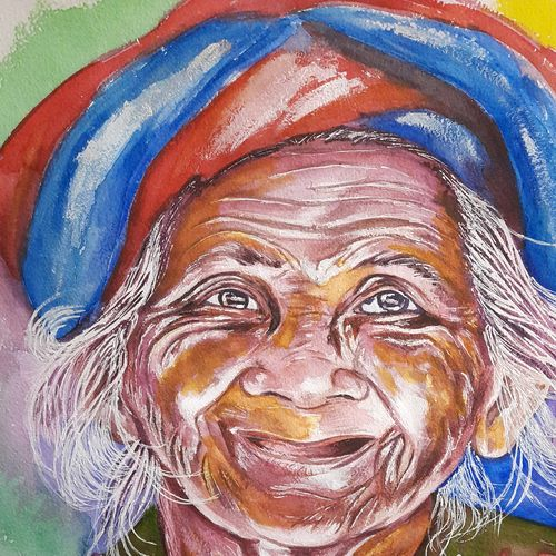 old woman, 12 x 16 inch, sangeetha oduvil,12x16inch,handmade paper,paintings,abstract paintings,figurative paintings,still life paintings,portrait paintings,realistic paintings,watercolor,GAL03067943046