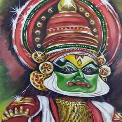 kathakali kerala art form, 24 x 24 inch, sangeetha oduvil,24x24inch,canvas,paintings,abstract paintings,figurative paintings,conceptual paintings,religious paintings,abstract expressionism paintings,realism paintings,realistic paintings,oil color,GAL03067943048